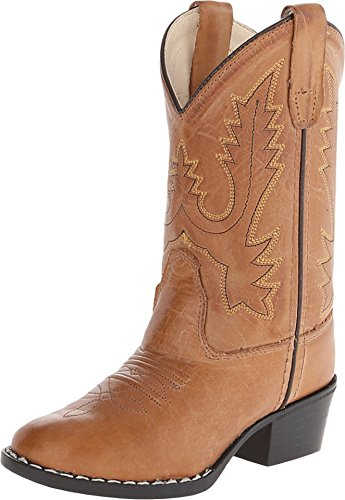 Old West Boys' Corona Calfskin Cowboy Boot Round Toe Tan 1.5 D(M) US Childrens Round Toe Boot