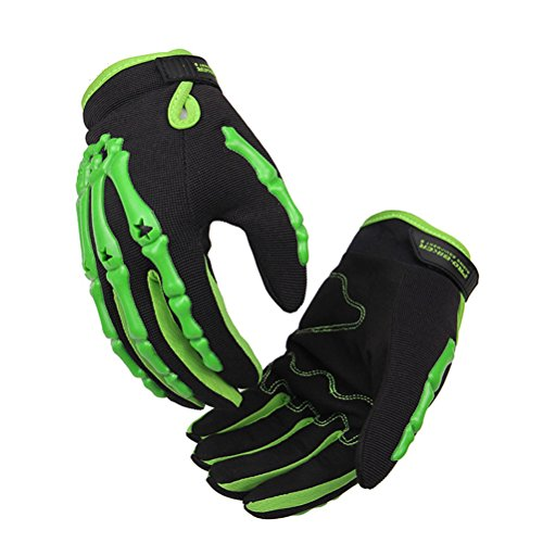 Men's Green Full Finger Lining Knuckle Protect Motorcycle Cycling Racing Sports Gloves Breathable