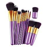 Yoyorule 11pcs Pro Makeup Cosmetic Brush Eyebrow Foundation Powder Kabuki Brushes Set ( Purple+Gold)