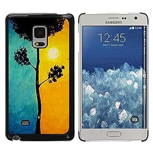 Hermosa Blue Sun Orange Tree Naturaleza- Metal de aluminio y de plástico duro Caja del teléfono - Negro - Samsung Galaxy Mega 5.8