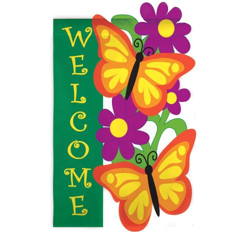 Evergreen Flag & Garden Butterfly Garden Vertical Flag