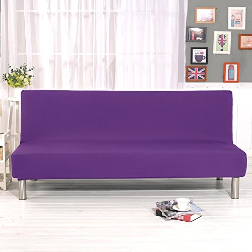 (Jingolden Solid Color Armless Sofa Cover Stretch Sofa Bed Slipcover Protector Simple Elastic Settee Folding Couch Sofa Shield Futon Cover Purple)