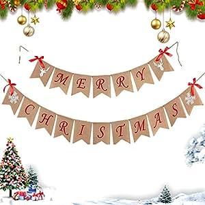 Amazon.com: Pancarta de Navidad con copo de nieve, lazo de ...