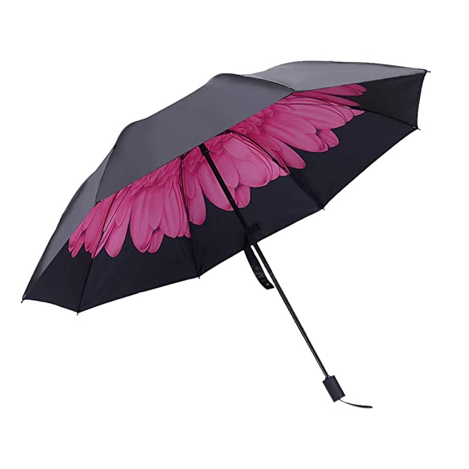 Compact Folding Easy Umbrella Windproof Sun Rain Travel Anti UV various  Colors