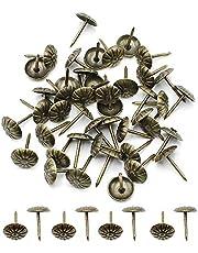 Robell 200 Stks Bekleding Tacks Nail Antieke Thumbtack Push Pin Meubels Decoratieve Pins Bloem-Patroon Hoofd Nail voor Vaste Tekening (11x16mm) Brons