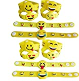 MicoYuan Emoji Rubber Wristbands Bracelets 12Pcs for birthday goodie bags ,giveaways and other party favors
