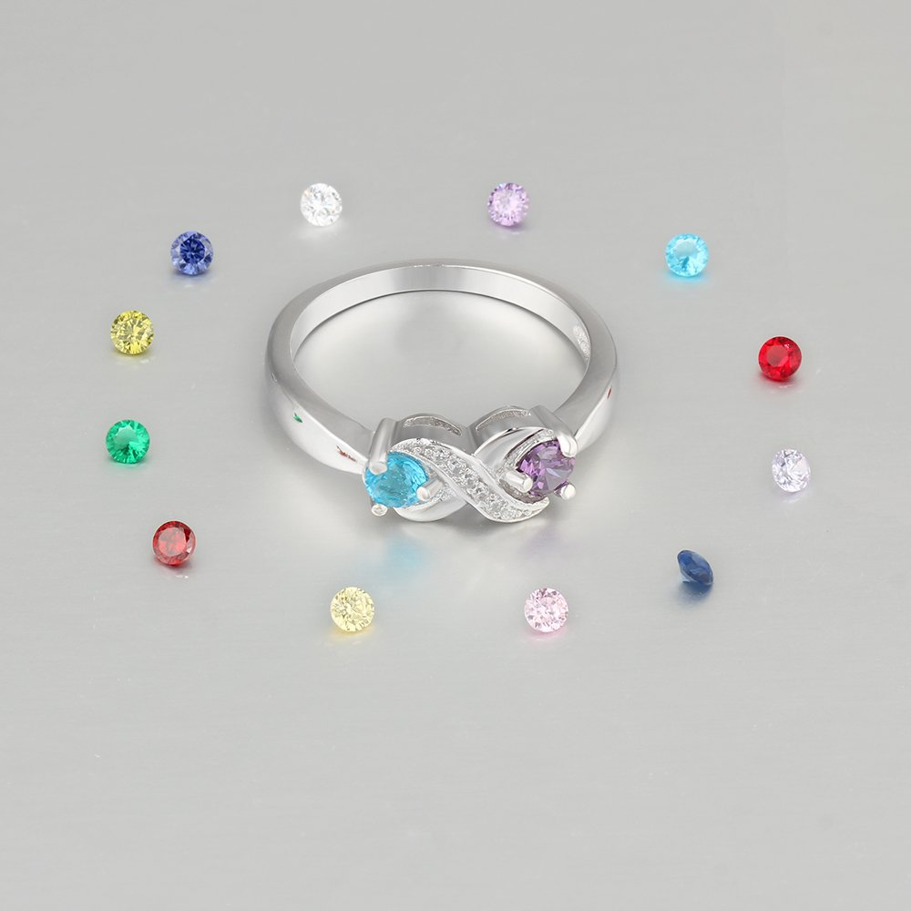 Love Jewelry Personalized Infinity Mothers Ring with 2 Round Simulated Birthstones Engagement Promise Rings for Women (8) by Love Jewelry