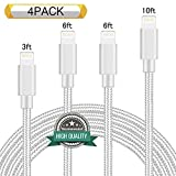 Youer Lightning Cable 4Pack 3FT 6FT 6FT 10FT Nylon Braided Certified iPhone Cable USB Cord Charging Charger for Apple iPhone 8 - X - 7 - 7 Plus - 6 - 6s - 6+ - 5 - 5c - 5s - SE - iPad - iPod Nano - Touch (Silver)