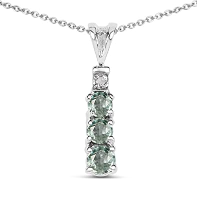 Amazon genuine round green sapphire pendant in sterling genuine round green sapphire pendant in sterling silver aloadofball Image collections