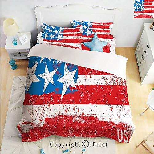 Homenon Hight Quality 4 Piece Bed Sheet Set,Culture Flag Solidarity of USA Stars Inspiration Retro Royalty Artwork,Coral White,King Size