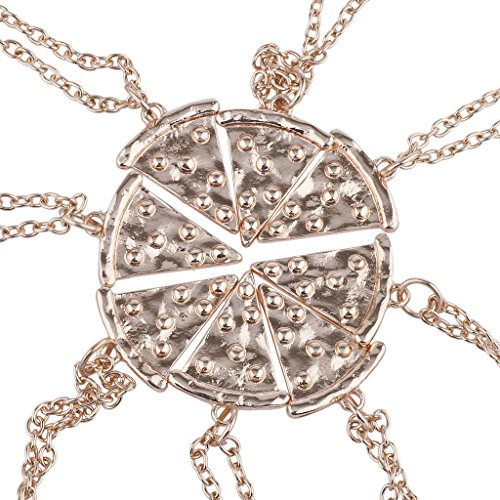 Lux Accessories Rose Gold Tone Pizza Pie Slice Best Friends BFF Necklace Set (Best Lux Accessories Friend Necklaces For 4 Girls)