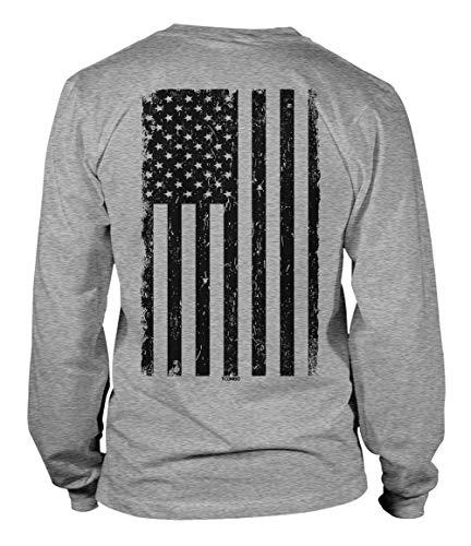 Distressed Black USA Flag - United States Unisex Long Sleeve Shirt (Light Gray - Back Print, Small)