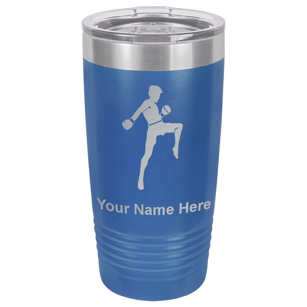 20oz Tumbler Mug, Muay Thai Fighter, Personalized Engraving Included (Dark Blue) by SkunkWerkz