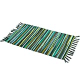 Zeafeel Chindi Rag Rug, Green 28'' x 47'' Machine Washable Cotton Reversible Rag Rug Hand Woven Multi Color Striped Area Rug Floor Rugs for Bedroom, Living Room, Kitchen and Laundry Room