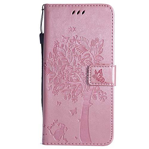 CUSKING Huawei Honor 8X ケース, Huawei Honor 8X 専用 手帳型 ケース 無地 PUレザー 軽量 耐衝撃 マグネット式 保護ケース エンボス 柄 カバー カードポケット付き, ローズゴールド
