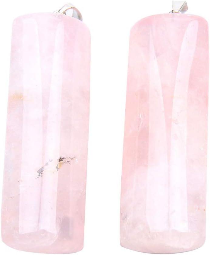HEALLILY 2 Piezas Colgantes de Cristal Natural Encanto Cuentas de Piedras Preciosas Rectangulares Encantos Fabricación de Joyas Encantos para Diy Artesanía Joyería Collar Pendientes (Rosa)