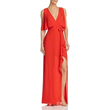 363d84c467b9 BCBG Max Azria Womens Fenella Faux-Wrap Sleeveless Evening Dress Red 0
