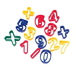 School Smart Numeric Shapes Clay Cutters Set - 1 3/4 inch - Set of 14 - Assorted Colors