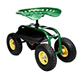 Rolling Garden Cart Work Seat With tool Tray Heavy Duty Gardening Planting Green