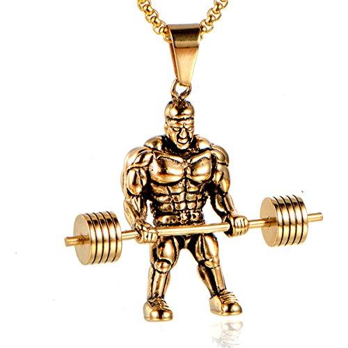 Custom Hip Hop Pendants (Qiao La Muscle Man Bodybuilder Fitness HipHop Large Pendant Necklace-Chain(24inch)(gold))