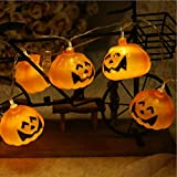 HP95 9.8ft with 20 Pumpkin Lantern Bulb Battery/USB Powered Lamp for Halloween Festival Party Wedding Garden Lawn Party Decor (LED Pumpkin Lantern with USB)