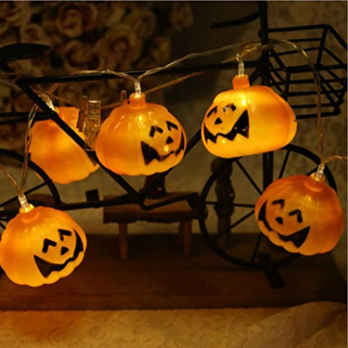 HP95 9.8ft with 20 Pumpkin Lantern Bulb Battery/USB Powered Lamp for Halloween Festival Party Wedding Garden Lawn Party Decor (LED Pumpkin Lantern with -