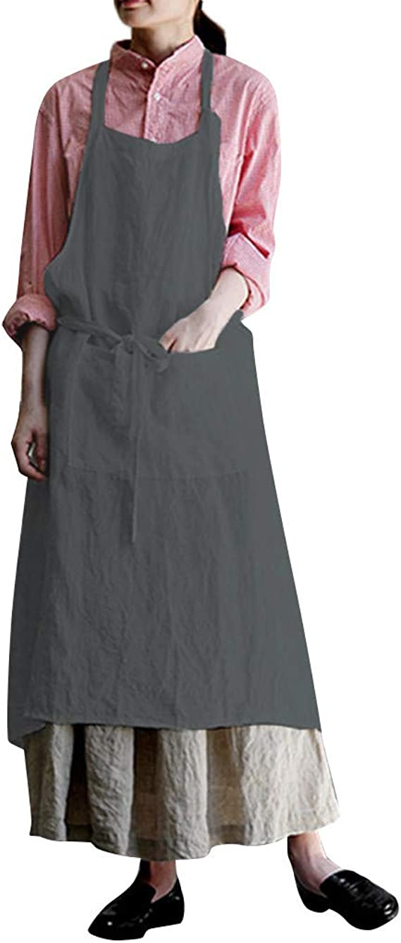 Woman Cotton Linen Dresses Sleeveless Tunic Pinafore Dress with Pocket Casual Summer Pinafore Square Cross Apron for Women