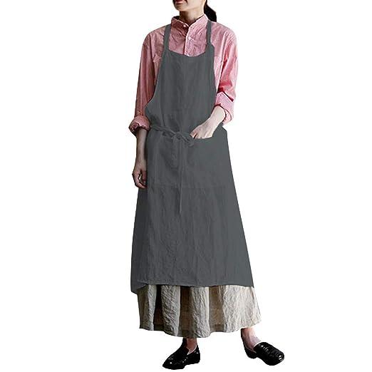 adaf331ac1 2019 Women s Casual Cotton Linen Dress Long Sleeve Square Cross Apron  Garden Work Pinafore Dress (