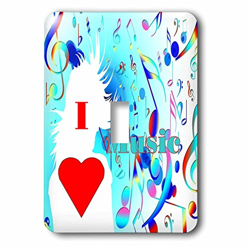 3dRose Florene Music - Image of I Love To Dance Girl With Multicolor Notes - Light Switch Covers - single toggle switch (Love Screw Music)