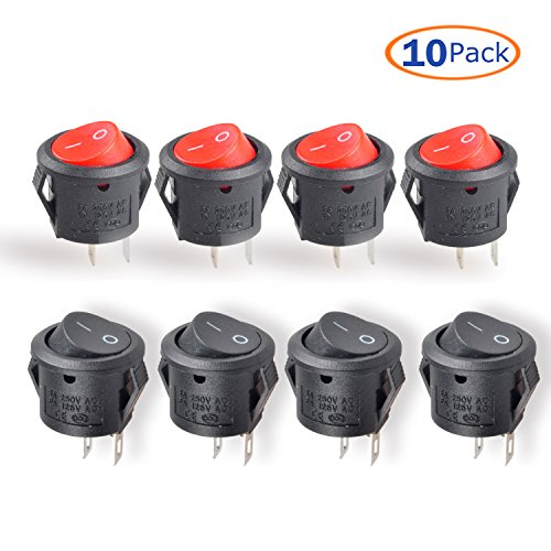 Switch Housing Plastic Toggle (Conwork 10pcs SPST Type Round Switch, 2 Pin 2 Position ON/OFF Boat Rocker Switch 6A/125V 3A/250V AC for Truck Car)