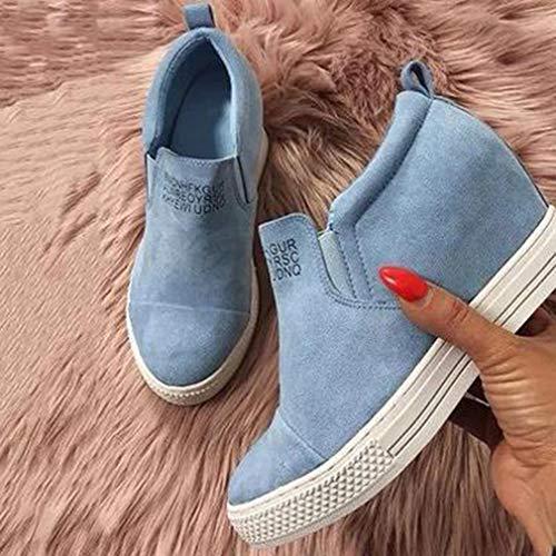 Eleganti Boots Sport Scamosciato Blu Mocassini Alte Donne Ankle Stivaletti Sneakers Con Scarpe Per Zeppa Tacco Stivali fpvP6wv