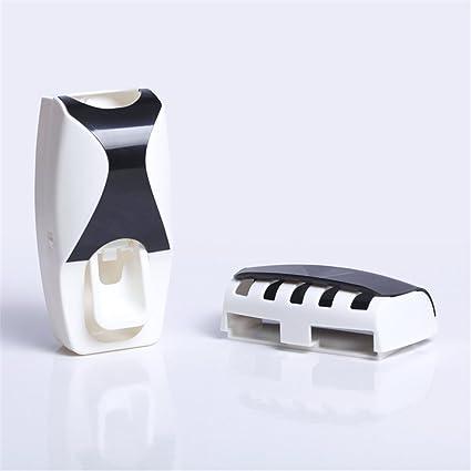Set Dispensador de pasta de dientes con soporte para cepillo de dientes Organizador manos libres,