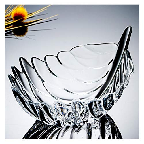 Fruit Tray, European Feather-shaped Crystal Glass Creative Living Room Home Melon Seeds Candy Fruit Plate (color : A, Size : 18cm8cm) ()