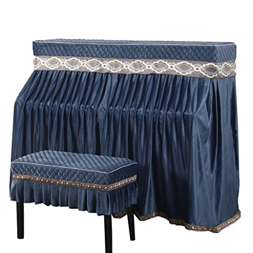 Piano Cover,for Standard Upright Piano Dustproof And Breathable Thick Flannel (Color : Blue-153x34x120cm+78x38cm)