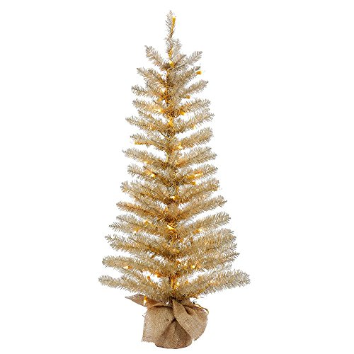 Vickerman B153651 Pre-lit Champagne Tinsel Artificial Tree with 150 Clear Lights, 5 Feet (Lights Tips Clear 150)