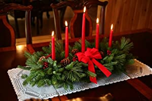Christmas Tablescape Decor - Fresh Maine balsam, real pinecones, and faux holly berries with a red hand tied velveteen bow and 5 red candles in a floral foam plastic base