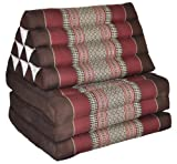 Thai mattress 3 folds with triangle cushion, brown/burgundy, relaxation, beach, pool, meditation garden (82503)