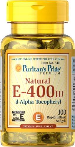 Fierté Vitamine E-400 de Puritan iu naturelle à 100% 100 gélules