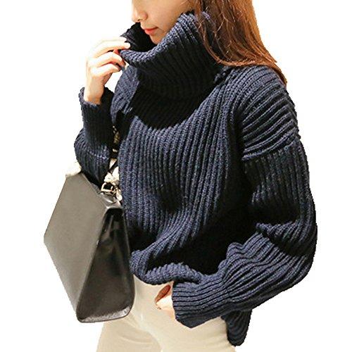 Omerker Women turtleneck Neck Knit Long Sleeve Chunky Winter Sweater Jumper
