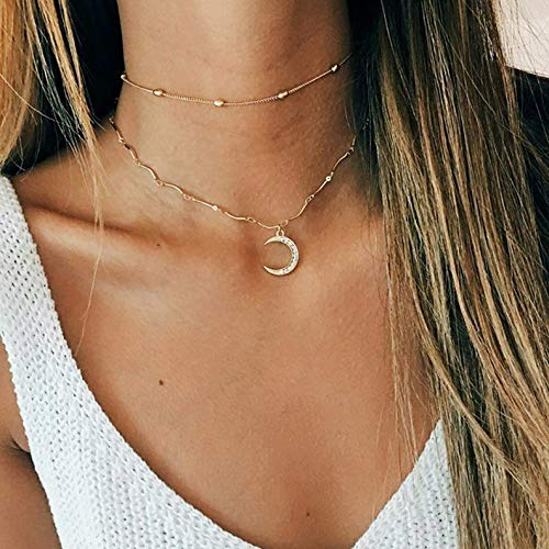 Waldenn Fashion Women Multilayers Crystal Pendant Necklace Choker Collar Chain Jewelry | Model ERRNGS - 12911 |