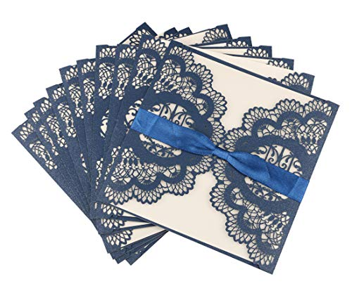 DiewWedding 20 pcs Wedding Invitations, Blue Square Laser Cut Invitation Cards, Bridal Baby Shower, Quinceanera, Birthday Party,Christmas with Envelope and Ribbons -