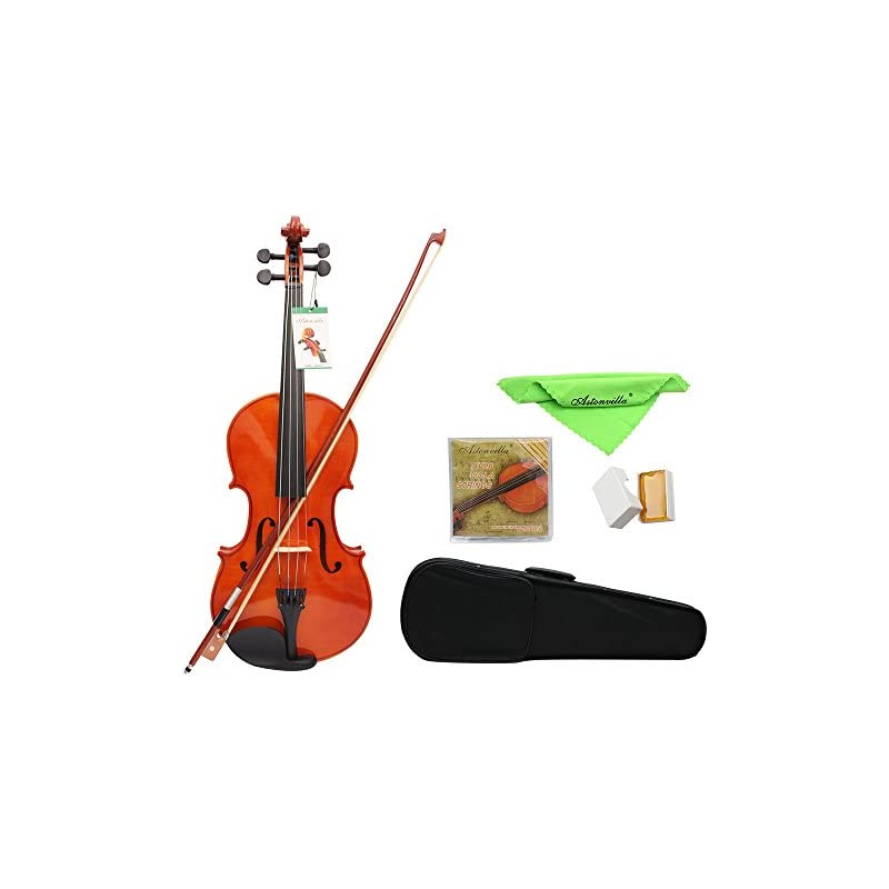 ammoon 4/4 Full Size Solid Maple Viola of 16 Inch with Case Bow Bridge Rosin and Strings