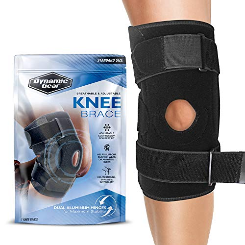 Dynamic Gear Open Patella Stabilizing Knee Brace with Dual Aluminum Stability Hinges – Padded Neoprene Adjustable Compression Knee Support Brace for Meniscus Tear, ACL, Strains, Knee Pain, Arthritis
