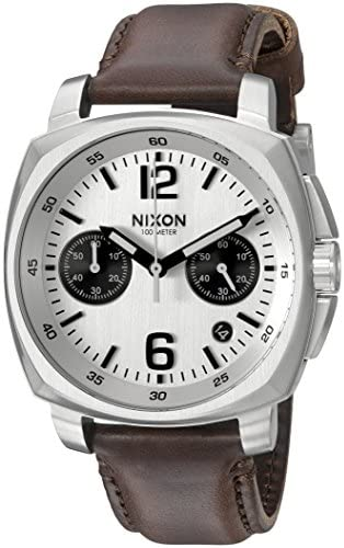 Nixon Men s Charger Chrono Quartz Metal and Leather Watch, Color Brown Model A10731113-00