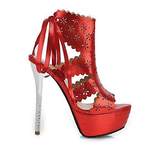 AllhqFashion Mujeres Cuero Sólido Cordones Peep Tacón de aguja Sandalia Rojo