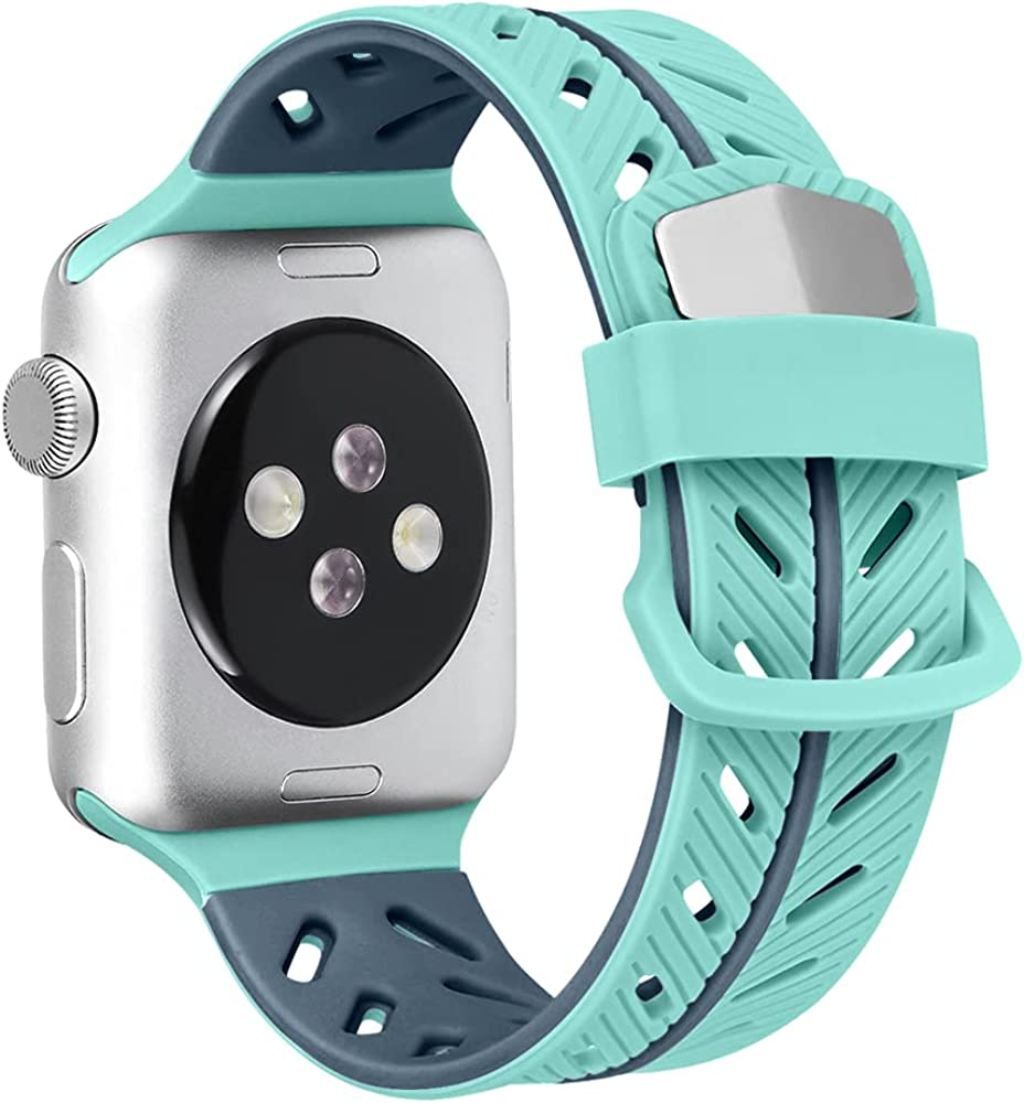 EBLSE Bands Compatible With Apple Watch Band 40mm 38mm 42mm 44mm,Two-Tone Soft Breathable Silicone Sports Replacement Strap Men Women Compatible for iwatch Series SE 6 5 4 3 2 1