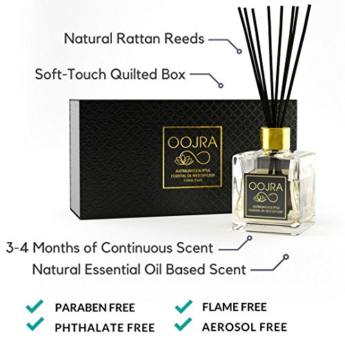 Oojra Australian Eucalyptus Essential Oil Reed Diffuser Gift Set, Glass Bottle, Reed Sticks, Natural Scented Long Lasting Fragrance Oil (3+ Months 5 oz) for Aromatherapy and Air Freshener