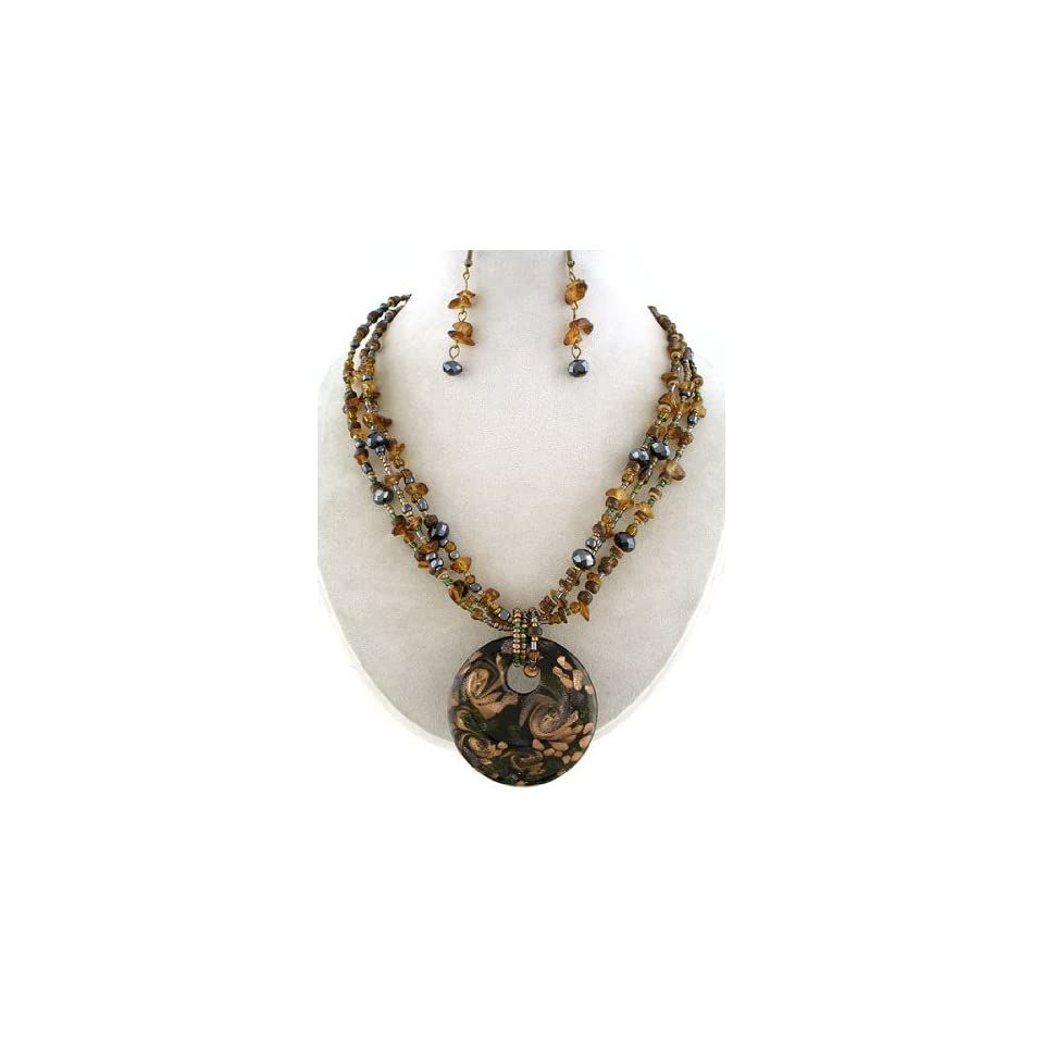 Fashion Jewelry ~ Brown Murano Glass Necklace and Earrings Set