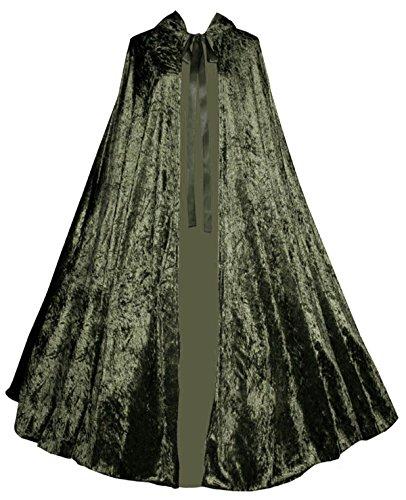 Victorian Vagabond Gothic Renaissance Steampunk Velvet Cape Cloak Olive Green