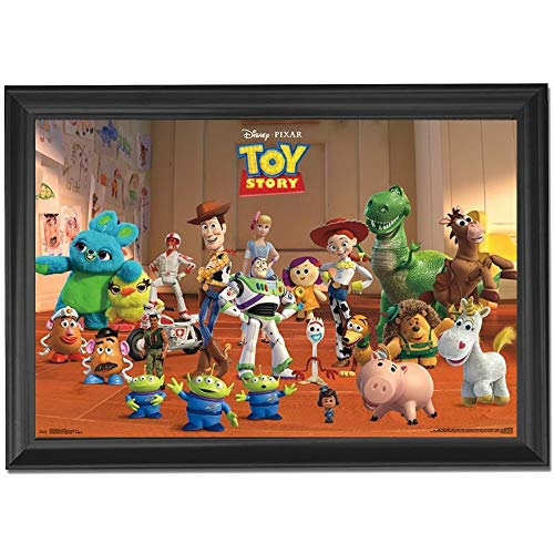 (Disney Pixar Toy Story Wall Art Decor Framed Print | 24x36 Premium (Canvas/Painting Like) Textured Poster | Buzz Lightyear, Woody & Potato Head Toy Figures | Memorabilia Gifts for Guys & Girls Bedroom)